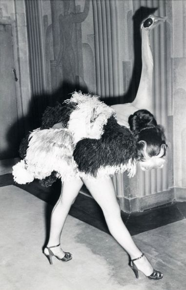 "1951 ""Ostrich"" dancer in the Folies Bergere show at the London Hippodrome."