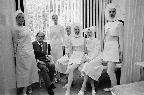 Pierre Cardin Nurses Uniforms. Hat variations.