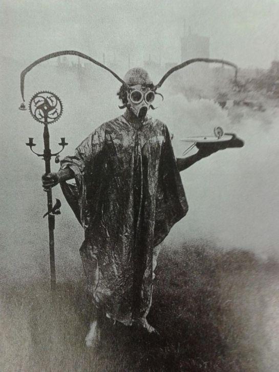 Urban Druid performing spirit sorcery in park, around year 1900